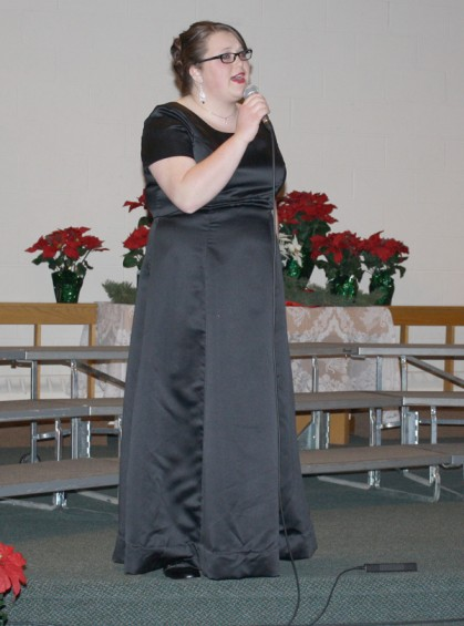 "Soloist Hannah Rice performs ""Sweet Little Jesus Boy."""