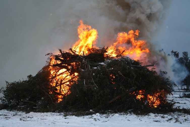 A pile of Christmas trees burns during the fire.