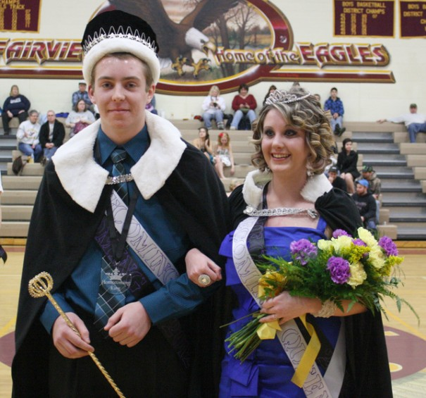 The 2012 Fairview High School Homecoming King and Queen, David Eaves and Haley Bills.