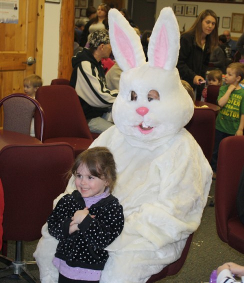 Peyton McKay, 3, of Trenton, pays a visit to the Easter Bunny.