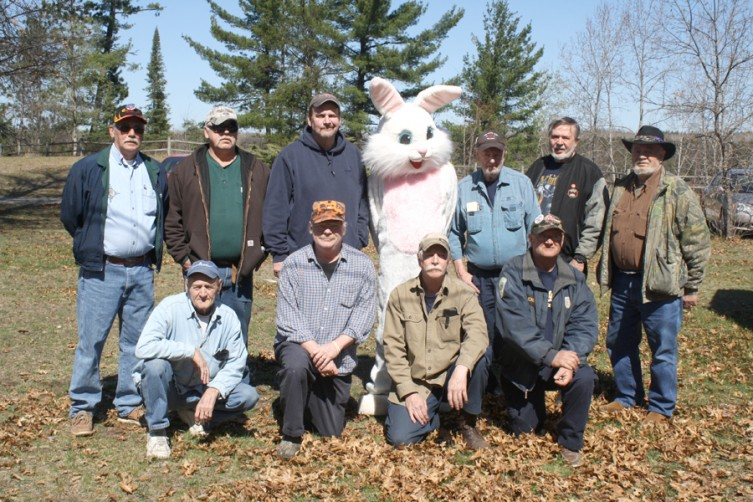 Members of the Mio Dummy Club pose with the Easter Bunny following the hunt. Pictured are: (front, from left) Max Ostrander, Tom Smith, Rob Martin, John Smarr; (back, from left) Duane Roddy, John Jackson, Tony Graves (president), the Easter Bunny, Stu Chandler, Al Hood, and Andy Welser.