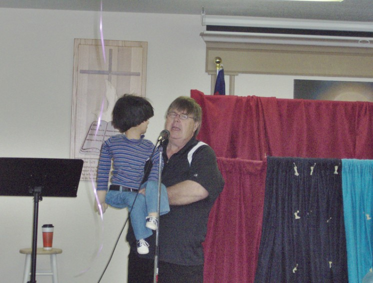 "The Rev. Al Eastman of Mio presented a puppet show, ""Eddie and Company,"" as part of the party."