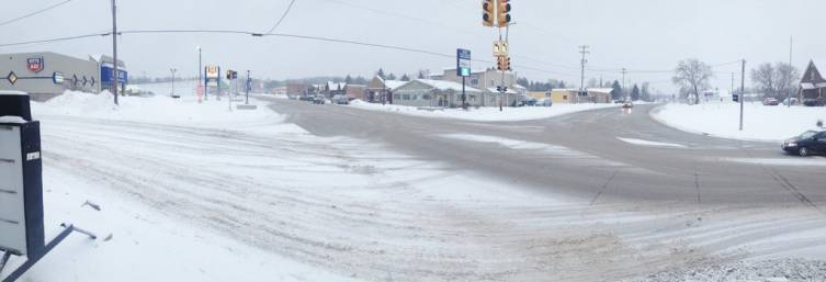 Snow starts flying again in downtown Mio Feb. 7.