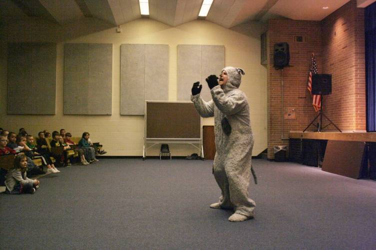 """Jake the Sheepdog explains bullying to Mio Elementary School students during the introduction to, """"Wooly Bully."""""""