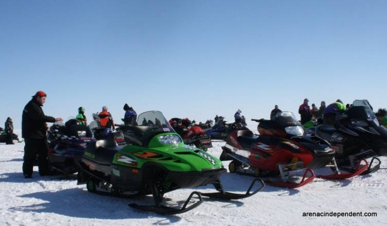 Many people rode their snowmobiles along the coast of the Saginaw Bay Feb. 15, eventually making their way to White's Beach.