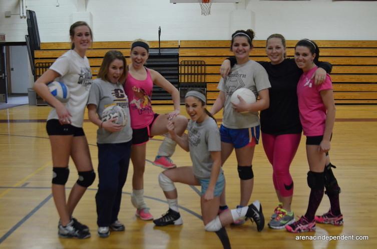 The winners of the first alumni volleyball game: Ryan Menard, Lyndsay Morrison, Brooklynn Robinson, Brooke Sendo, IlaMae Mahon, Kayla Avram, Christina Evans
