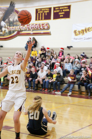 Jenna DeJarlais grasps at a Fairview rebound, coming away with a basket.