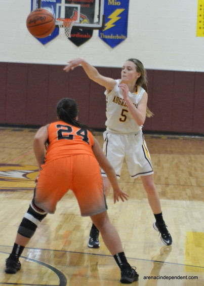 AGS'  Maleah Lagalo pass the ball.