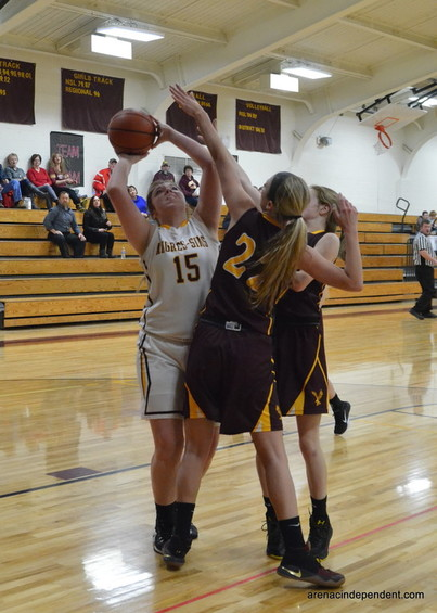 Fairview's Jenna DeJariais blocks AGS' Gina Dewalds shot.