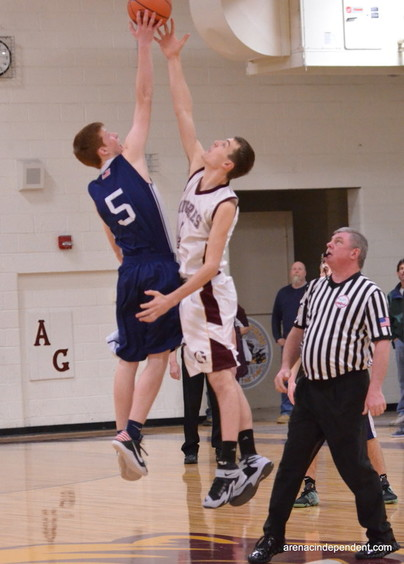 AGS' Trent Jantzi and Hale's Ethan Cagle at the tip-off.