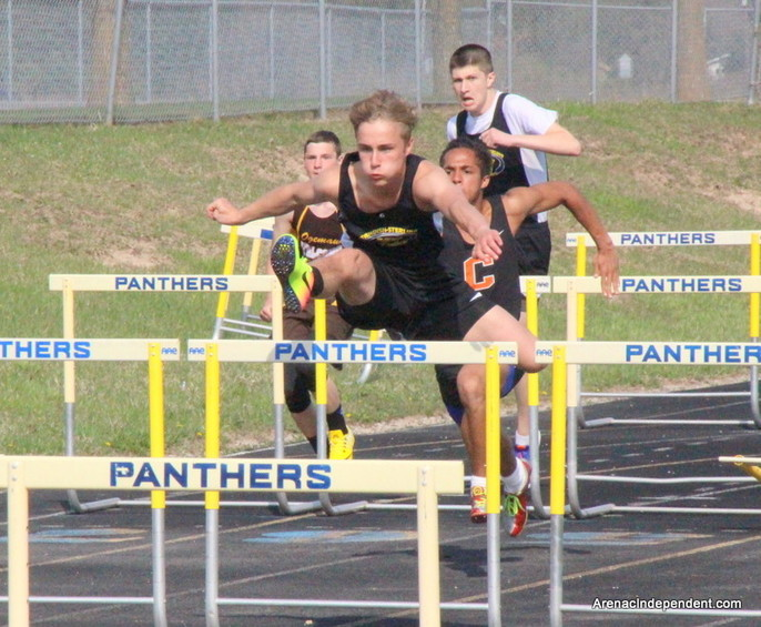 SSC's Clay Plachta outruns the pack in the 110-meter high hurdles.
