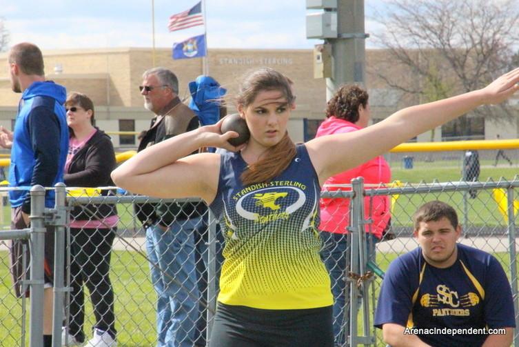 SSC's Grace Grivetti prepares to throw the shot.