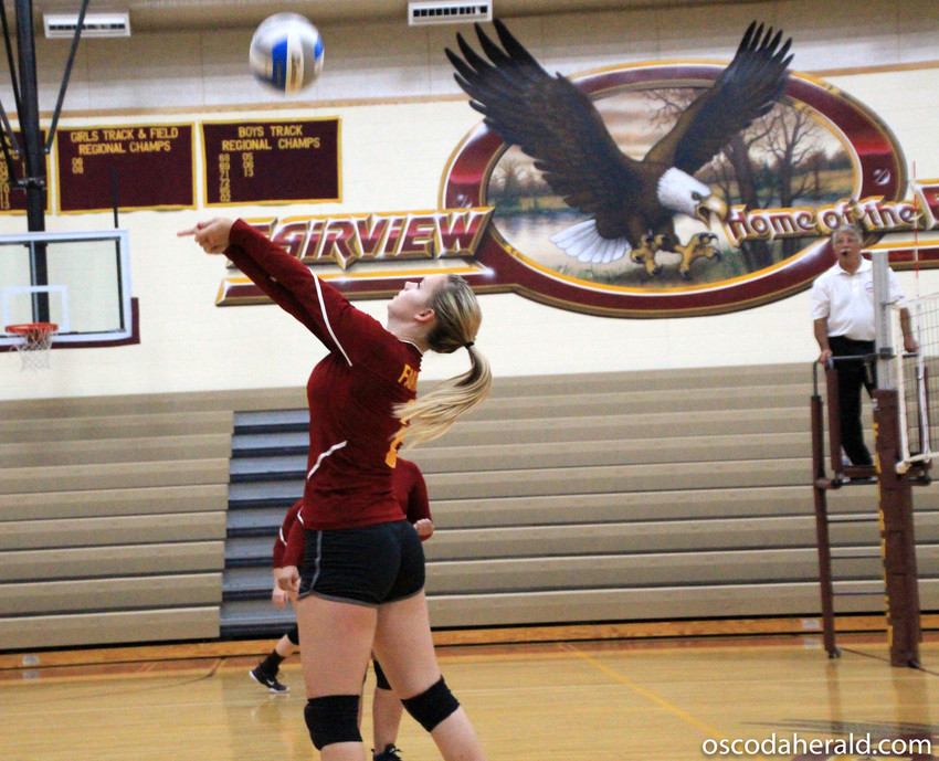 Brittney Welser bumps the ball backwards over the net.