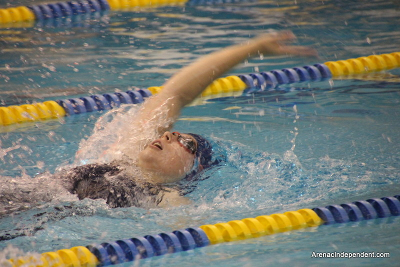 SSC's Meg Lincoln swims the 100-yard backstroke.