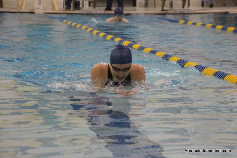 Katie Haag of SSC gets out in front of the pack in the 200 medley.