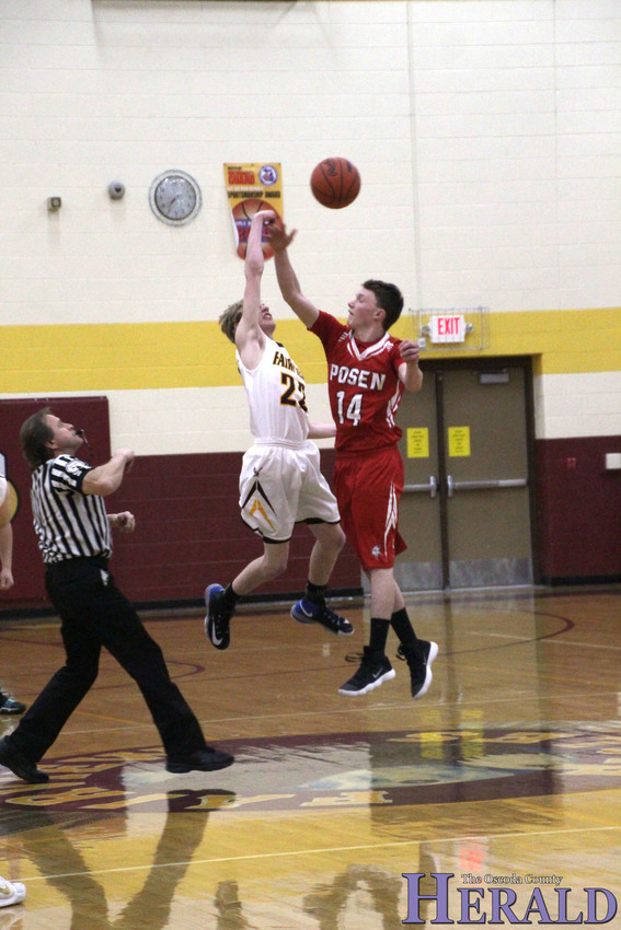 Fairview's Durius Oaks tries to win the jump ball.