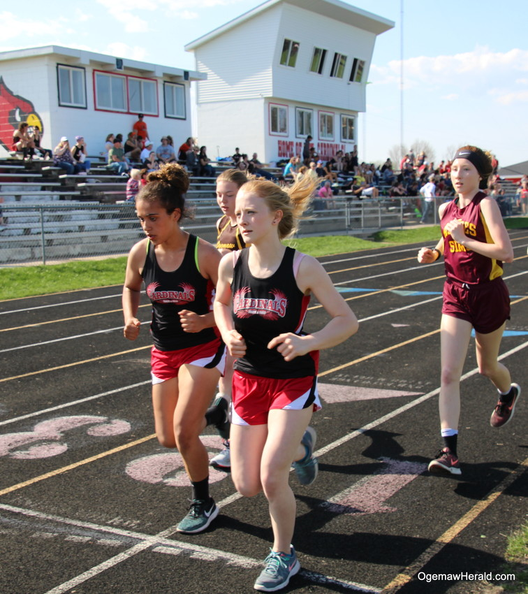 The girls work hard during the 1-mile.