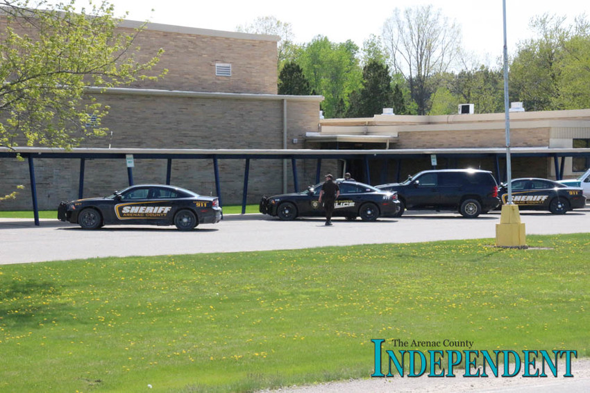 Law enforcement personnel were on scene at the SSC middle school May 18.