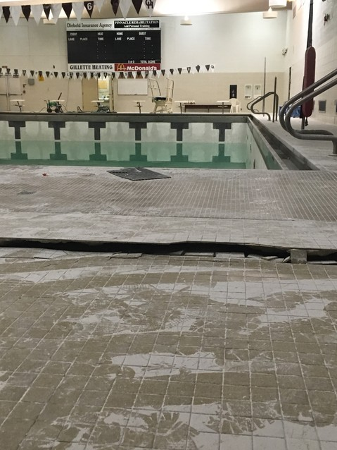 While resurfacing the pool at Ogemaw Heights High School in 2017, the pool heaved up from the ground due to heavy rains and a structural failure.