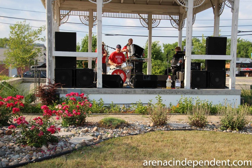 The Kowalski Brothers Polka Band performs in front of the crowd.