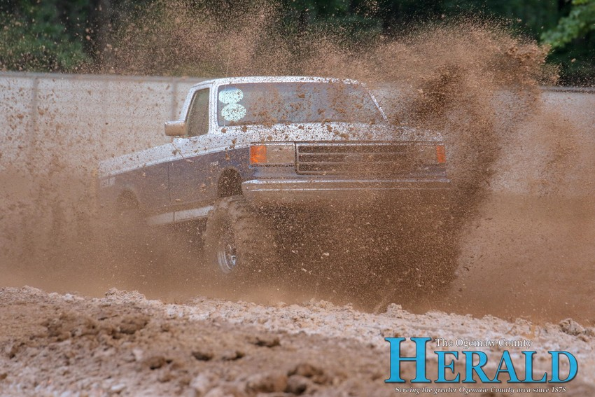 Dave Sisco takes his run at the mud pit.