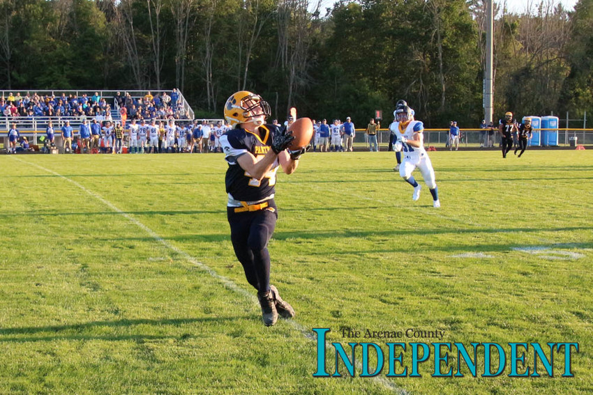 Terrance Bales catches a pass at the 45 yard line that he will then run in for the first touchdown of the game.