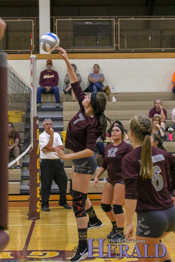 AGS' Makenna Anderson makes a play at the net.