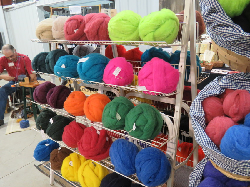Balls of unspun wool sit on display at the Lamb and Wool Festival.