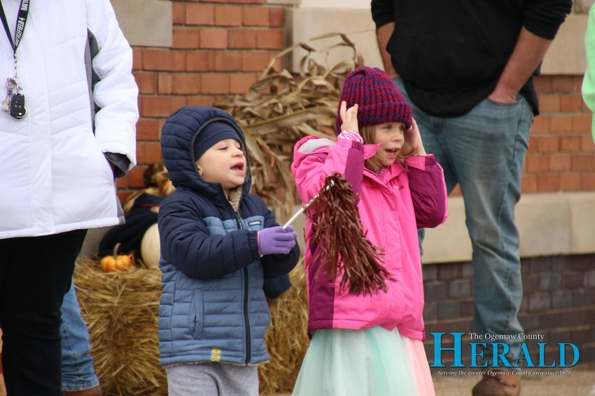 Dayton, 4, and Ashlyn Jameson, 7, chant at the floats and walkers during the parade.