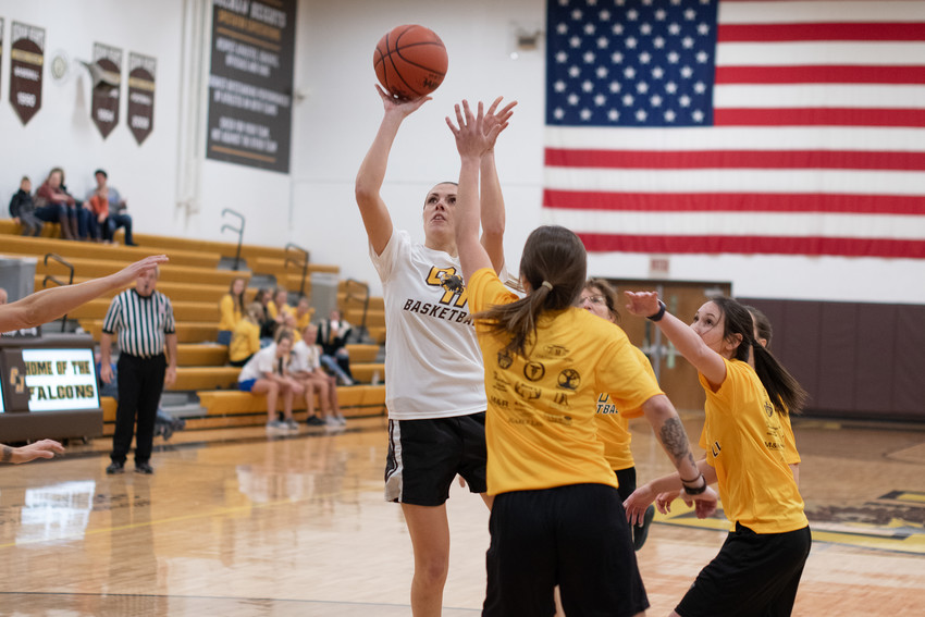 Alanah Pietryga ('06) pulls up for a jumper in the key.