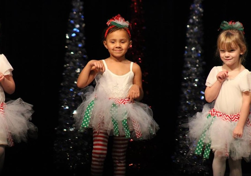 Adilyn Price and Aleena Bergeron dance in last year's Christmas Showcase.