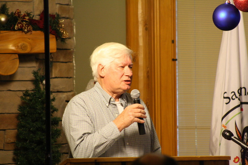 Thomas Ennes, Au Gres mayor at the time, speaks during a tribal distribution meeting in 2013.