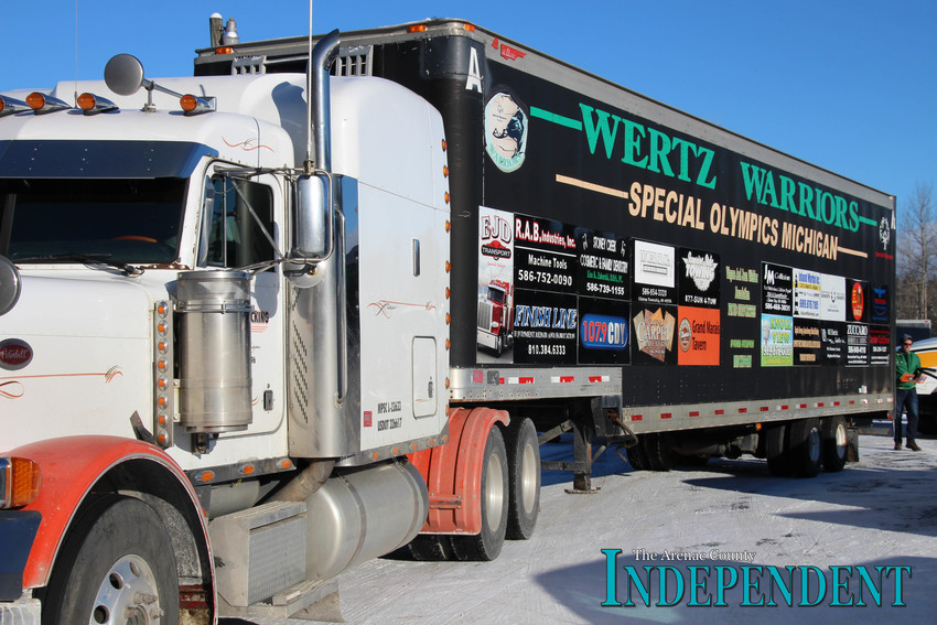 One of the three Wertz Warriors semitrailers sits in the parking lot at the American Legion in Skidway Lake Sunday.