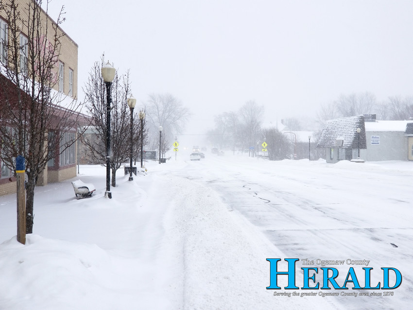 Several inches of fine powdery snow fell in downtown West Branch in only a few hours Jan. 28.