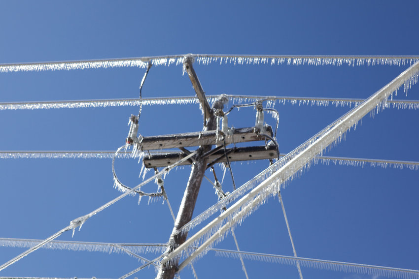 An example of iced over power lines from a 2011 ice storm that Consumers Energy dealt with.
