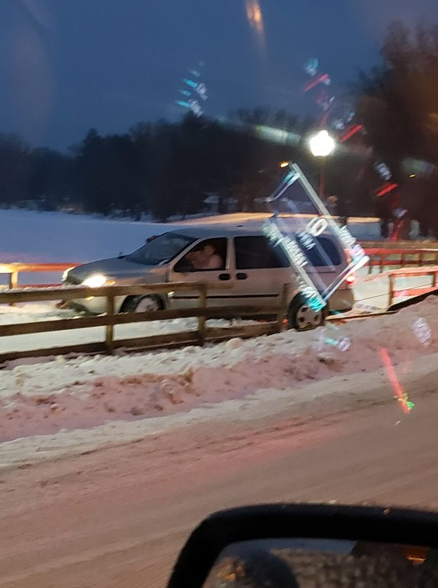A driver lost control of her vehicle and slid onto the Skidway Lake Boardwalk Feb. 21.