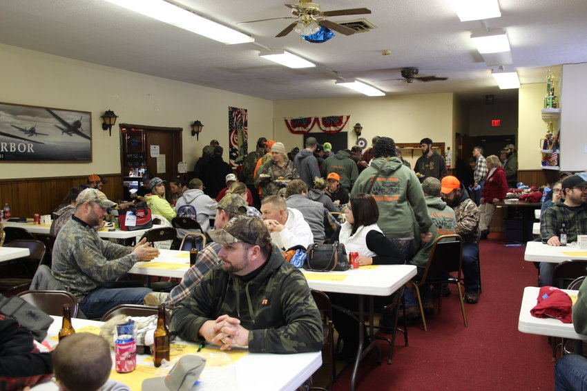 Hunters pile into the American Legion after a weekend of hunting to enjoy a meal and celebrate this year's round-up.