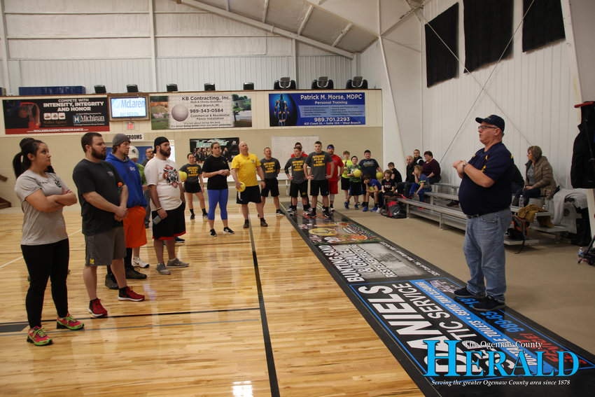 Roscommon Probate and Family Court Judge Mark Jernigan tells those participating in the dodgeball tournaments the rules of the game and tells them to have fun.