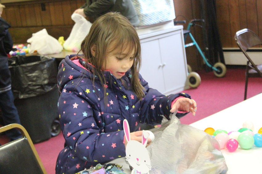 Lea Cournyer, 6, goes through her treasures.