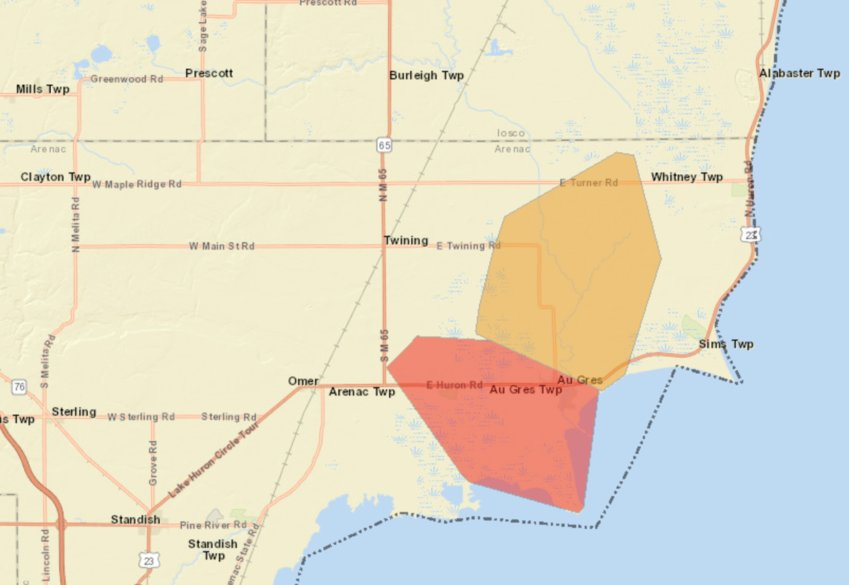 The Consumers Energy Outage Map shows the outage area as of 4:55 p.m. Sunday.