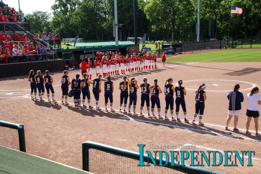 The Standish-Sterling Central Lady Panthers and Millington Lady Cardinals take the field at Michigan State University before the Michigan High School Athletics Assocation's softball state semifinals game June 14.