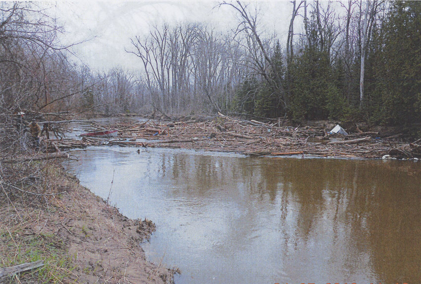 A log jam near Townline Road has reduced the flow of the Rifle River from a 50-foot swath to only 6 feet.