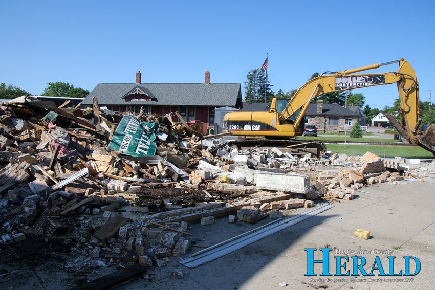 The former Laundromat on Houghton Avenue in downtown West Branch remains as just a pile of rubble after the building was torn down July 31.