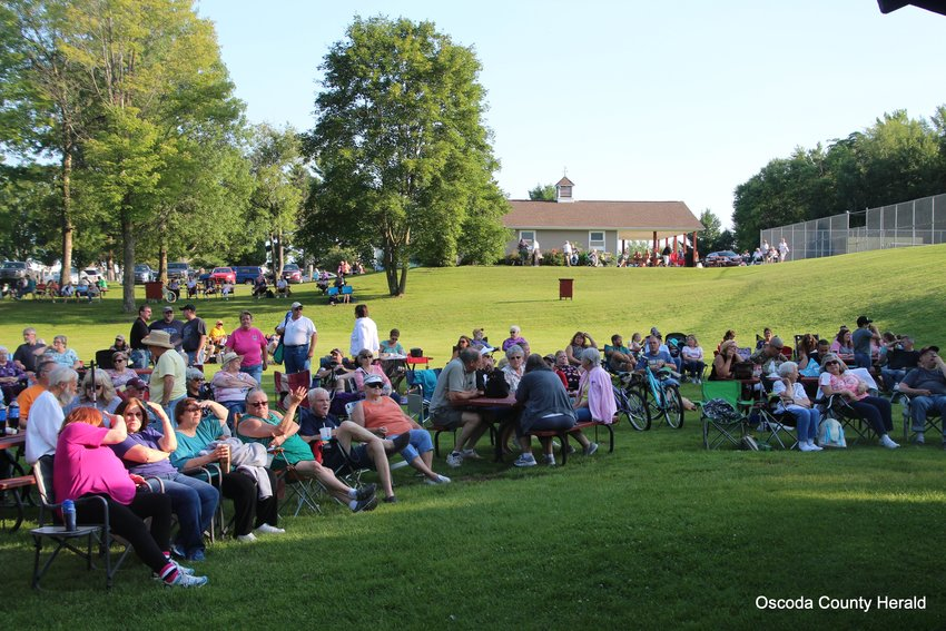 A large crowd gathered to watch the concert.