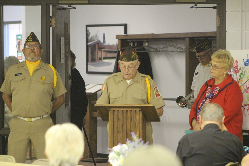 Marty Metiva of VFW Post 3724 addresses attendees of the ceremony.