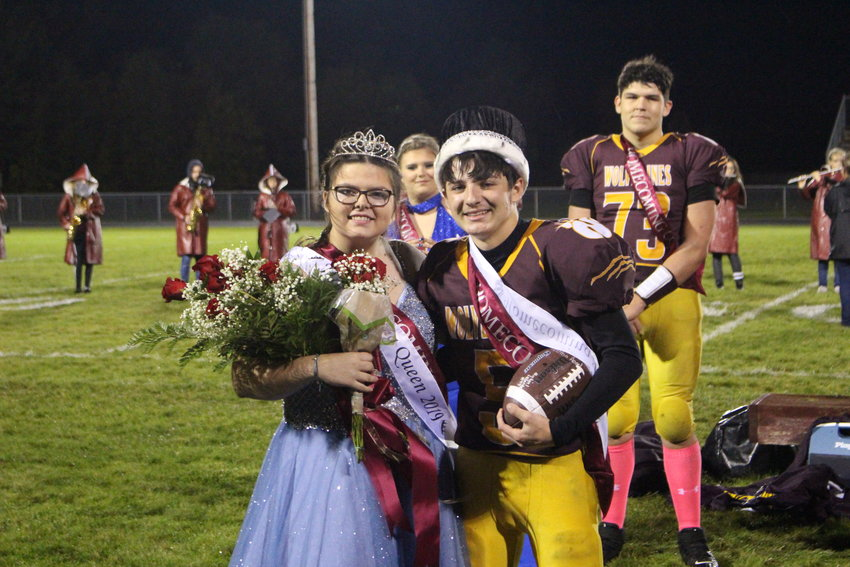 Homecoming Queen Amelia Freehling and King Dylan Badour pose after being crowned.