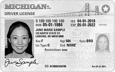Sample of Michigan REAL ID effective October 2020.