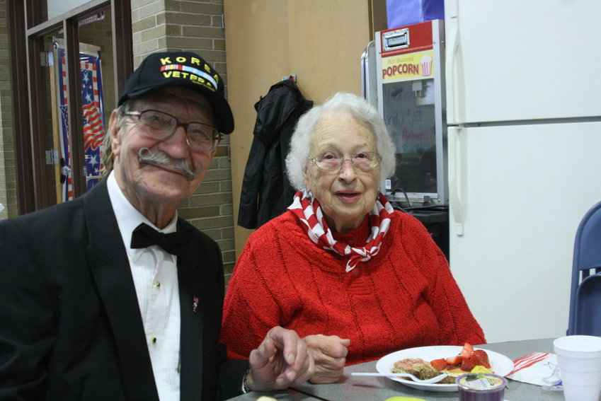 Irvin and Shirley Wrubel enjoy Veterans Day festivities at Mio AuSable Schools.