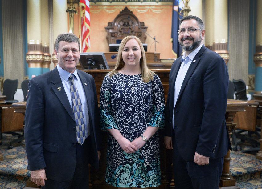 Senator Kevin Daley, Tara Binder, and Senator Jim Stamas at the Capital.
