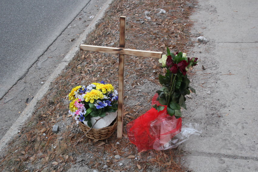 A memorial for Charmaine Ploof placed in front of the courthouse made by Public Works Director, Paul Piche.